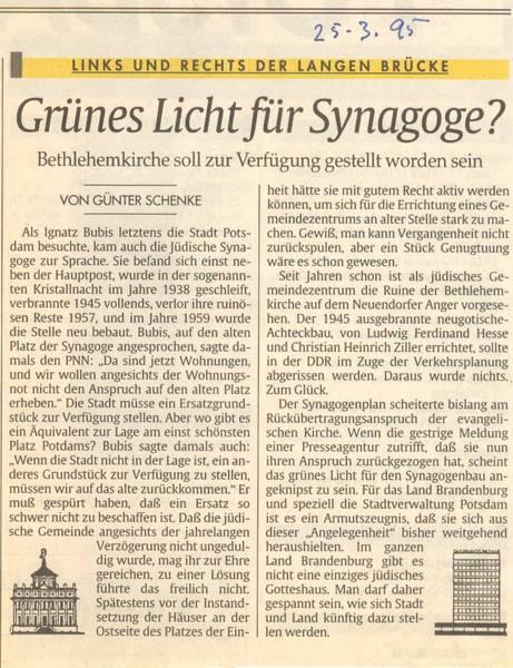 Grünes Licht für Synagoge?