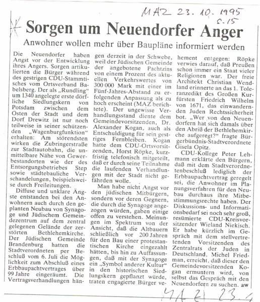 Sorgen um Neuendorfer Anger