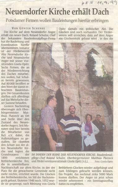 Neuendorfer Kirche erhält Dach