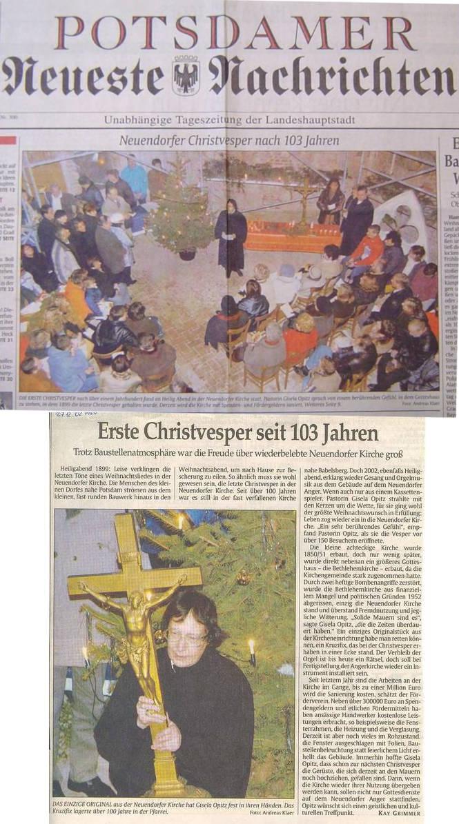 Erste Christvesper seit 103 Jahren