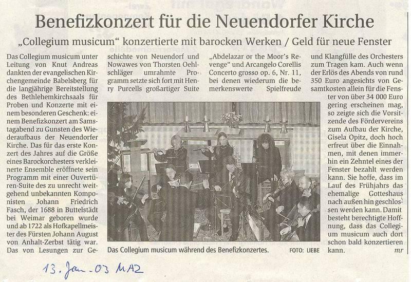 Benefizkonzert für die Neuendorfer Kirche
