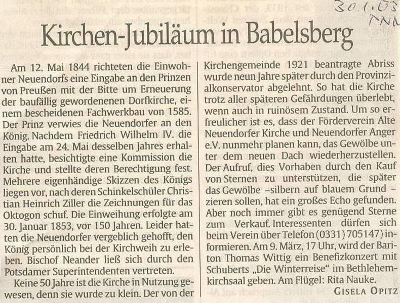 Kirchen-Jubiläum in Babelsberg
