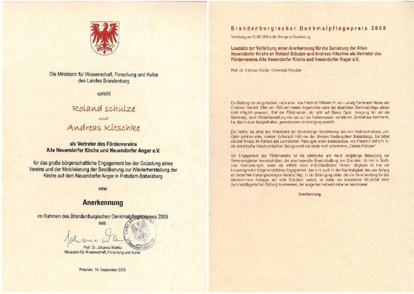 Urkunde Denkmalpflegepreis