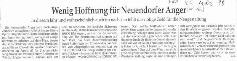 Wenig Hoffnung für Neuendorfer Anger