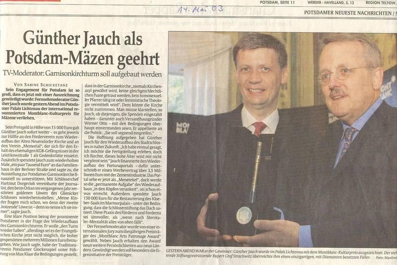 Günther Jauch als Potsdam-Mäzen geehrt