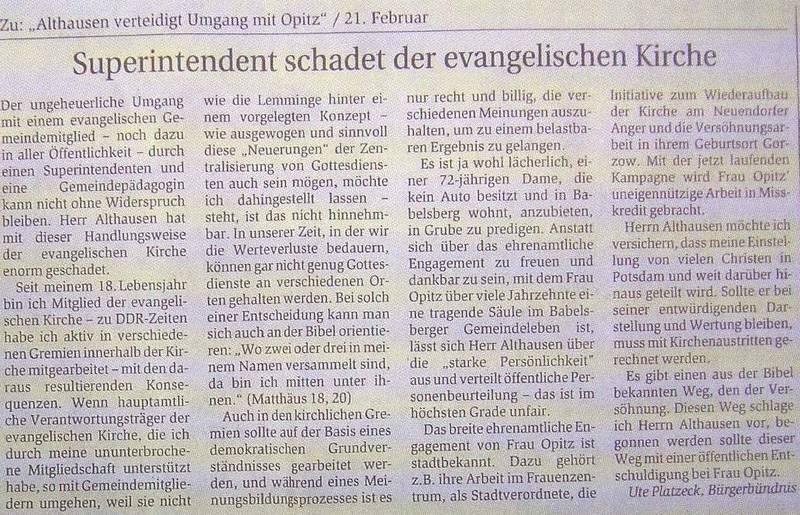 Superintendant schadet der evangelischen Kirche