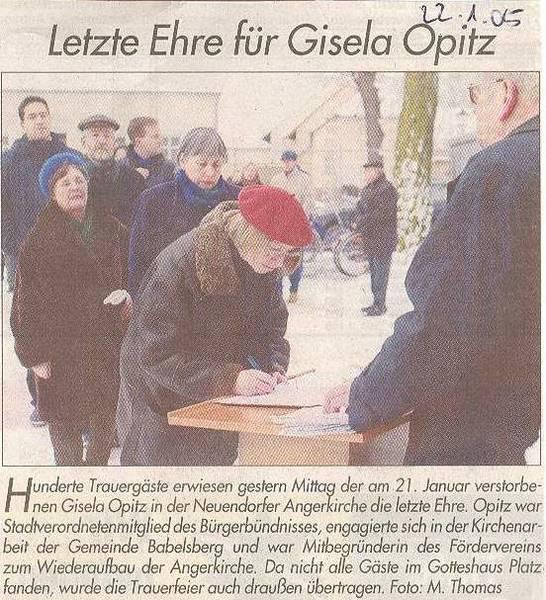 Letzte Ehre für Gisela Opitz