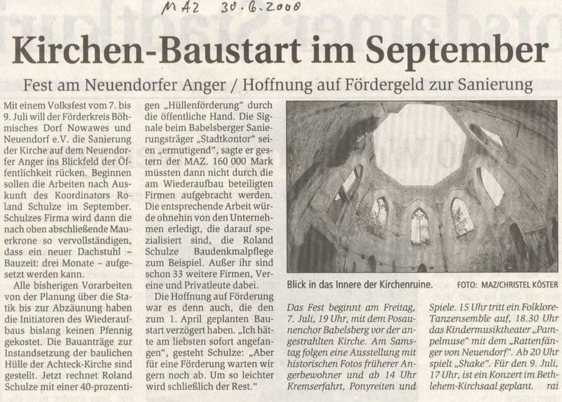 Kirchen-Baustart im September